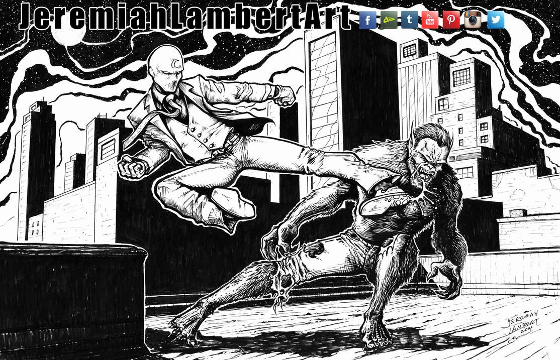 Moon Knight vs Werewolf by Night by JeremiahLambertArt