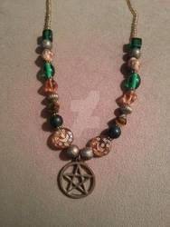 Beaded Bronze Pentacle Necklace