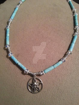 Turquoise Silver Beaded Goddess Pentacle Necklace
