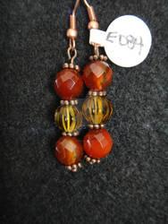 Carnelian and Amber Beaded Earrings
