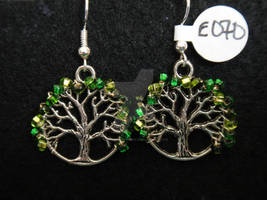 Green Beaded Tree of Life Earrings