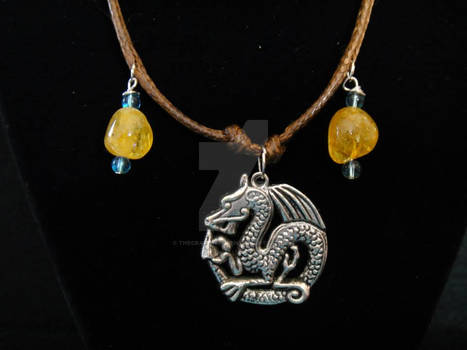 Amber and Blue Beaded Dragon Necklace