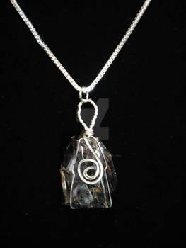 Wire Wrapped Raw Hematite Necklace
