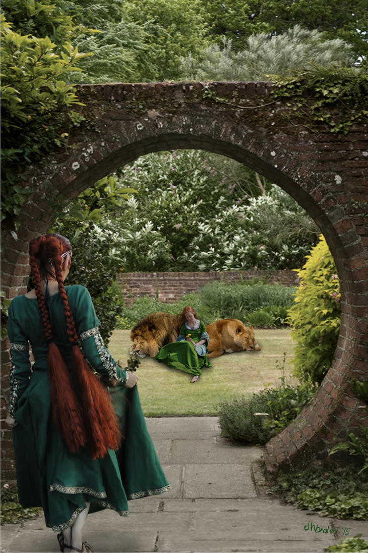 The Lions and Their Girl in the Garden by dhbraley