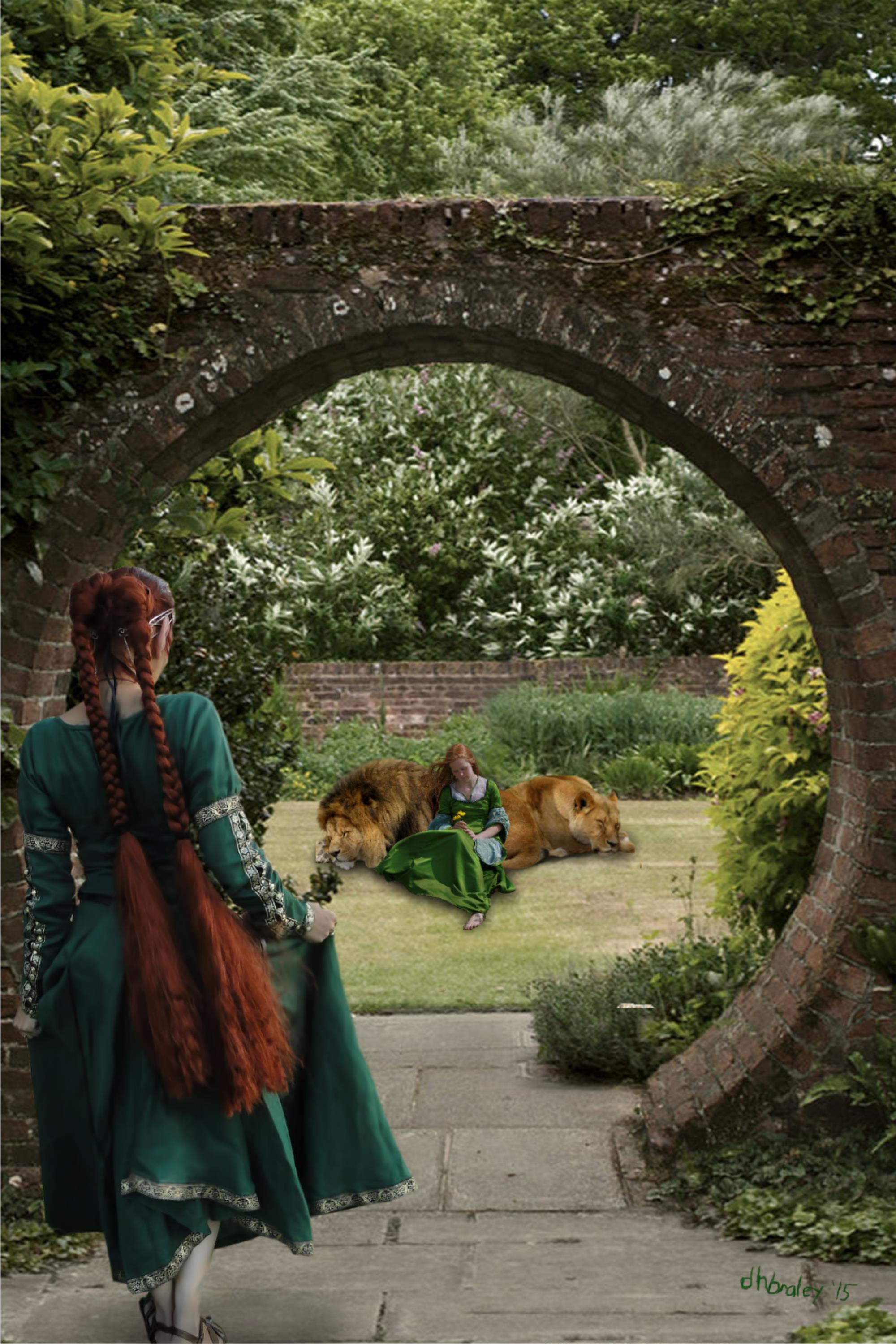 the lions and their girl in the garden by dhbraley on. Black Bedroom Furniture Sets. Home Design Ideas