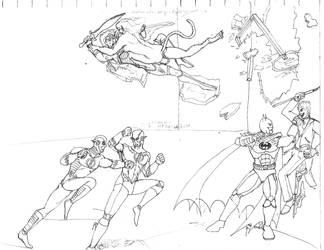 Fight-Wonder Woman, Batman, Flash (WIP) by dhbraley