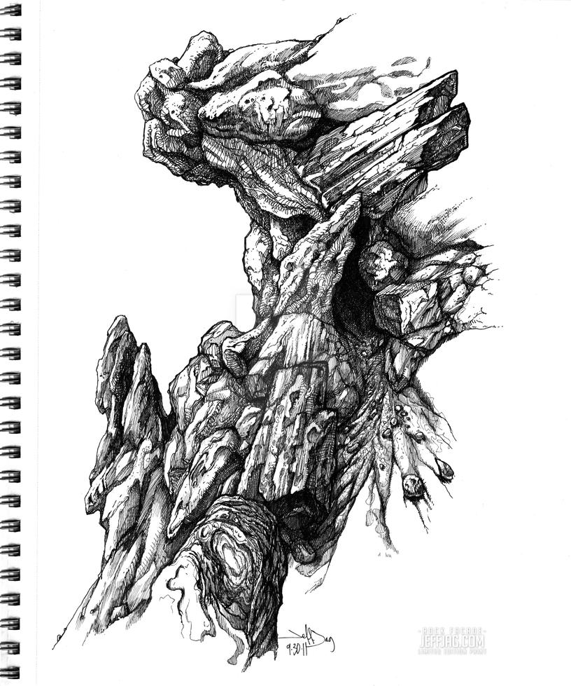 rock facade pen ink sketch illustration by jeffjag on