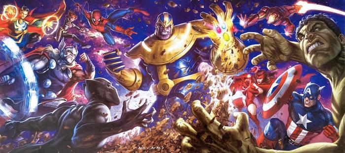 Thanos vs Avengers poster