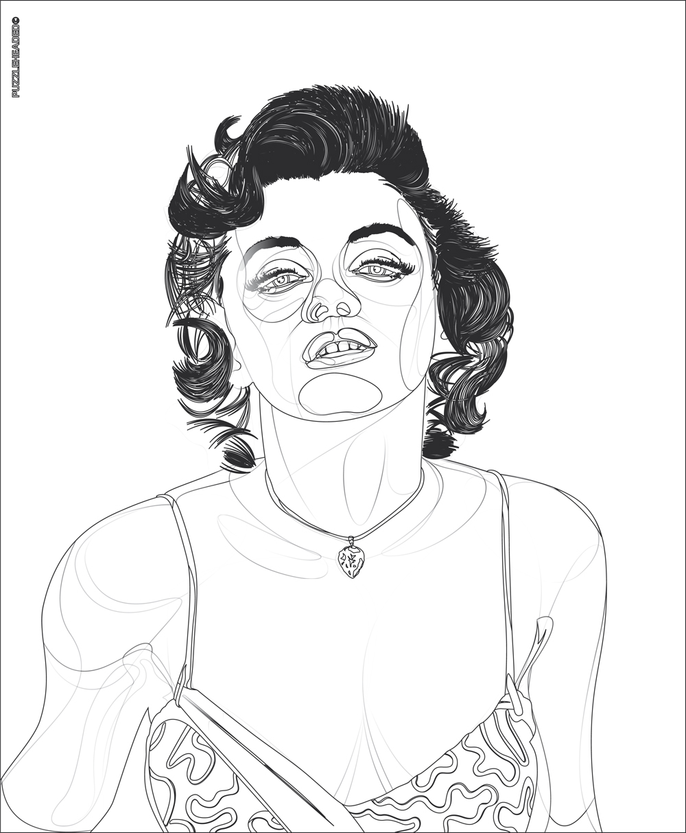 This is a graphic of Dynamite Marilyn Monroe Drawing Outline