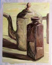 Coffee Pot and Ceramic Bottle by reptileweirdo90