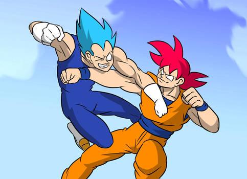 Vegeta vs Goku double punch