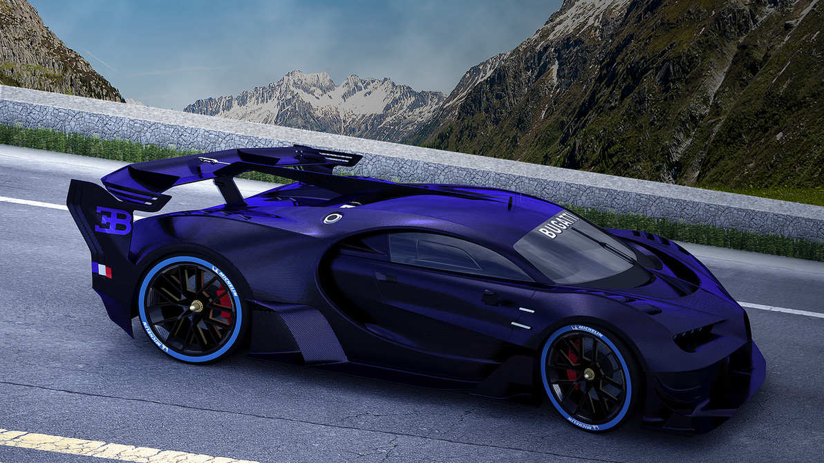Bugatti blue carbon on the mountain roadV006 by bacarlitos