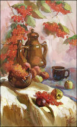 STILL-LIFE WITH ROWAN BERRIES