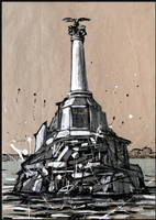 SEVASTOPOL. THE MONUMENT TO THE SCUTTLED SHIPS by Badusev