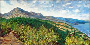 ALUSHTA. THE SUN-LIT MOUNTAIN CREST by Badusev