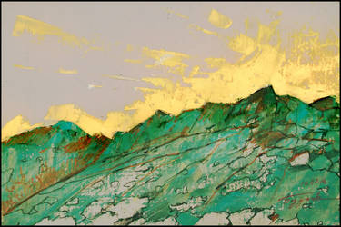 GREEN MOUNTAIN UNDER A GOLDEN SKY by Badusev