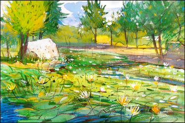 AN OLD POND IN THE COUNT'S PARK (PLEIN-AIR SKETCH)