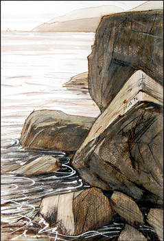 LAZURNOYE. BOULDERS ON THE COAST (PLEINAIR SKETCH)