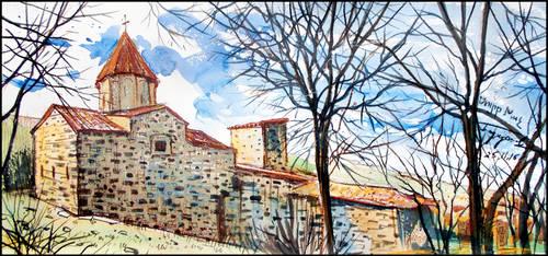 OUTSIDE  THE ARMENIAN MONASTERY WALLS by Badusev