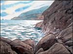 DARK ROCKS AND SHINING SEA (EN-PLEIN-AIR SKETCH)
