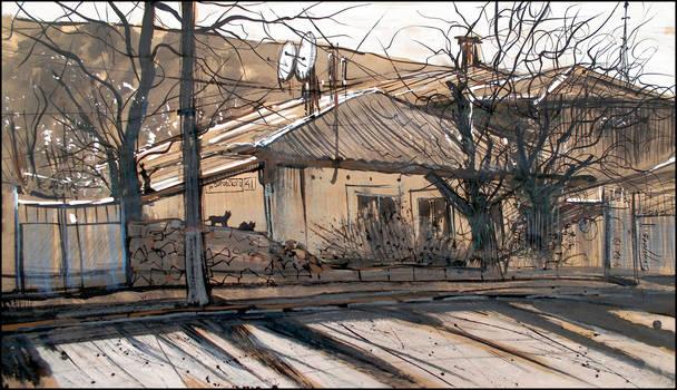 41 VOROVSKY STREET IN SIMFEROPOL (PLEINAIR SKETCH)