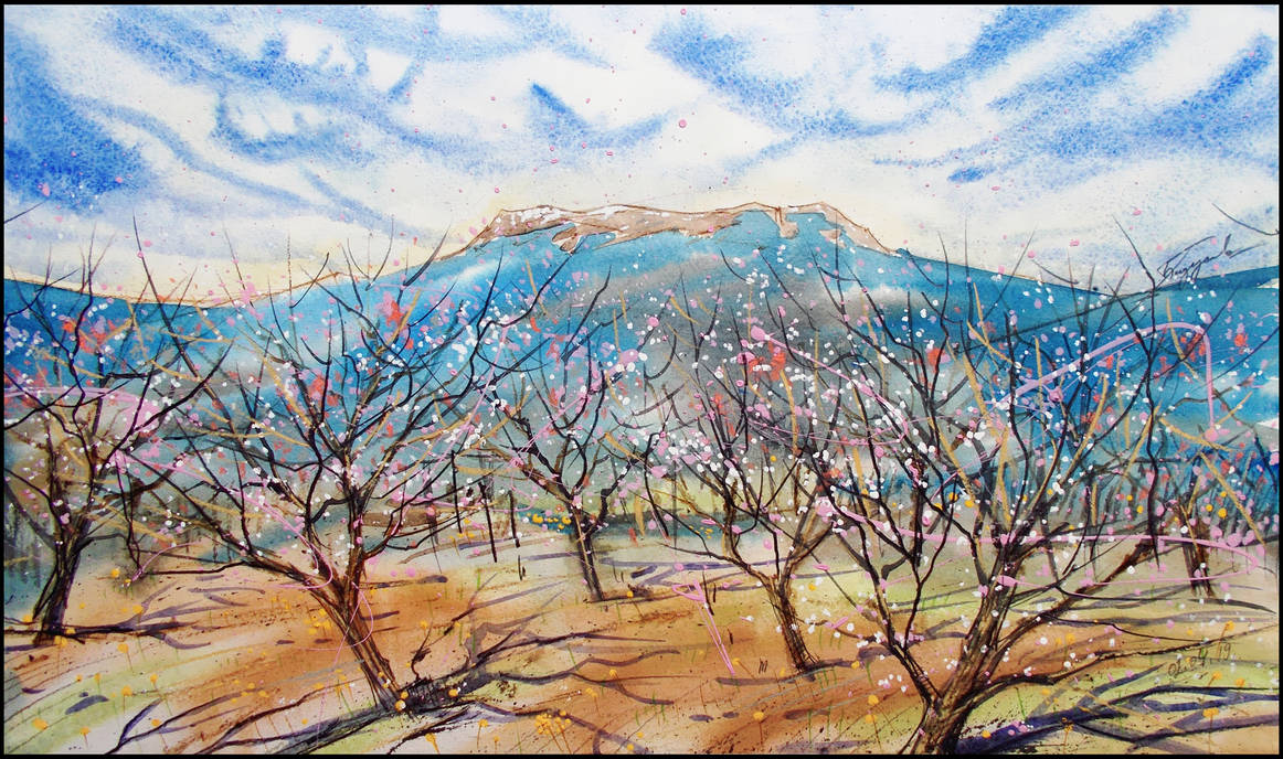 A PEACH GARDEN IN THE CRIMEAN MOUNTAINS by Badusev
