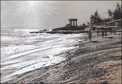 BEACH EN CONTRE-JOUR (PLEIN-AIR SKETCH)