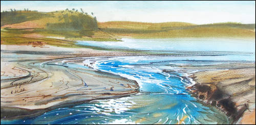 THE OLD RIVERBED OF THE SALGIR (PLEIN-AIR SKETCH)