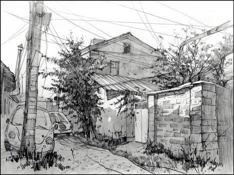4 KURCHATOV STREET IN SIMFEROPOL (PLEINAIR SKETCH)