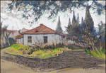 AN OLD ALUSHTA HOUSE (EN-PLEIN-AIR SKETCH) by Badusev