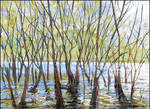WILLOWS IN THE WATER OF THE AYAN (PLEINAIR SKETCH) by Badusev