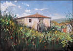 AN OLD HOUSE AND GARDEN (EN-PLEIN-AIR SKETCH) by Badusev