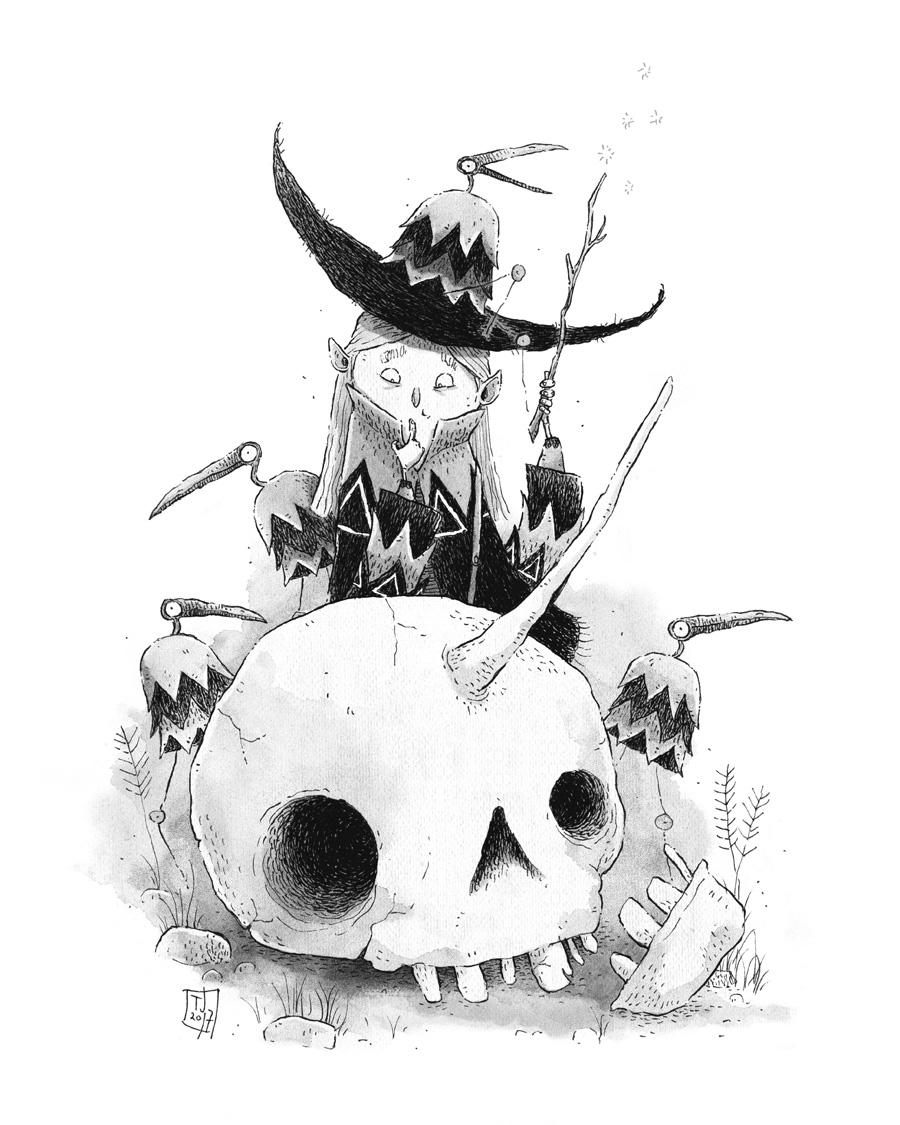 Inktober 12 - Wizard and the Unicorn by TeemuJuhani