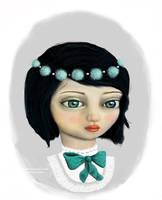 Blue Tie Blue Eyes Gray Girl by gollydog