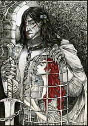 Sir Sandor Clegane and Bird. with Color by ArgentoMorte