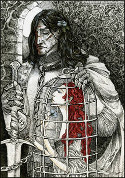 Sir Sandor Clegane and Bird. with Color