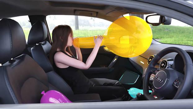 Big balloon in car
