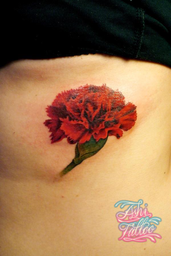 Carnation by ashimonster on deviantart for Red carnation tattoo