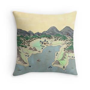 Asian Inspired Cartography - Throw Pillow
