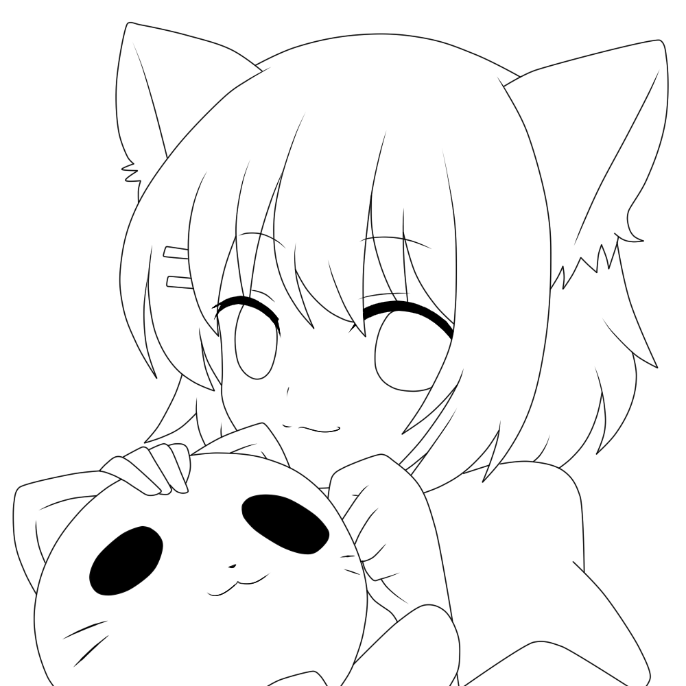 Line Drawing In C : Neko lineart by notheryne on deviantart