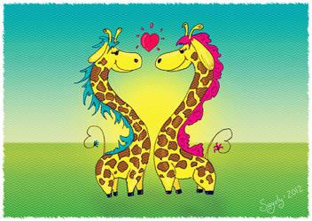 Heart giraffes by saysly