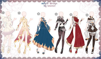 FULL BODY [OPEN] Auction Outfit Adoptable SET 5