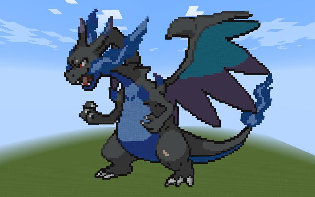 Mega Charizard X Pixel Art Template