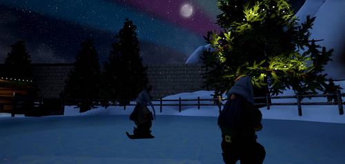 North Pole Market - skiing elves