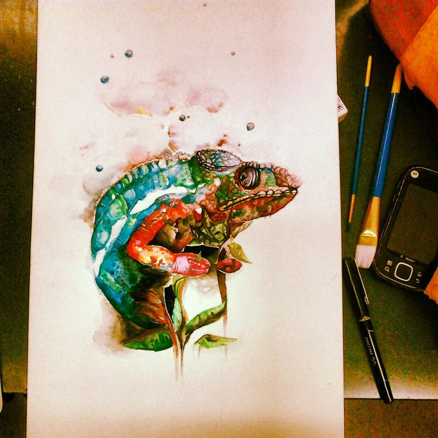 Chameleon Arts Tattoo Flash: Chameleon Watercolor By DickinAround On DeviantArt