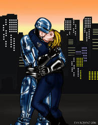 RoboCop and Anne Lewis kiss, urban landscape by amazona2016