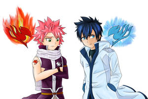 Fairy Tail - Natsu and Gray by Lyokion