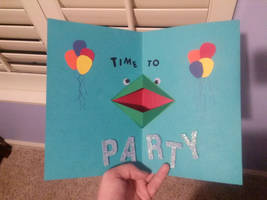 Party Frog Pop-Up Birthday Card