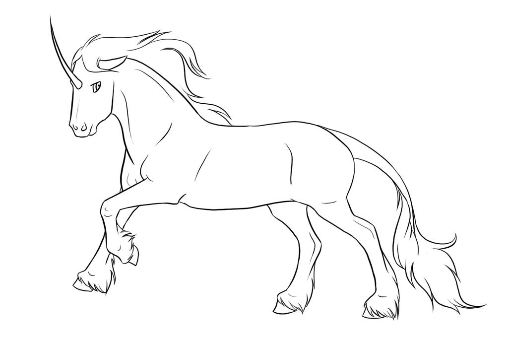 Line Art Unicorn : Unicorn lineart by xredlily on deviantart