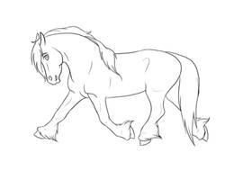 .Running Stallion Lineart. by xRedLily